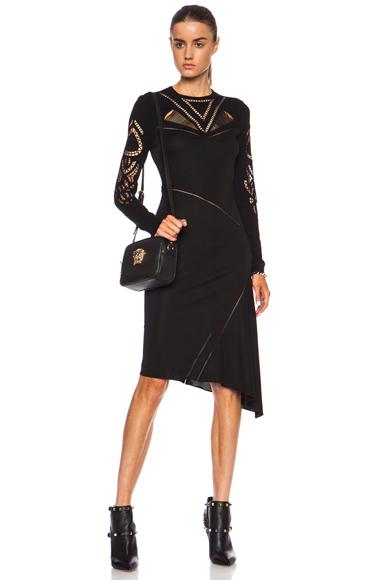 VERSACE | Asymmetrical Viscose Dress in Black