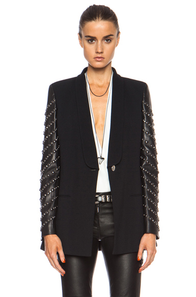 VERSACE | One Button Blazer with Embellished Leather Sleeves in Black