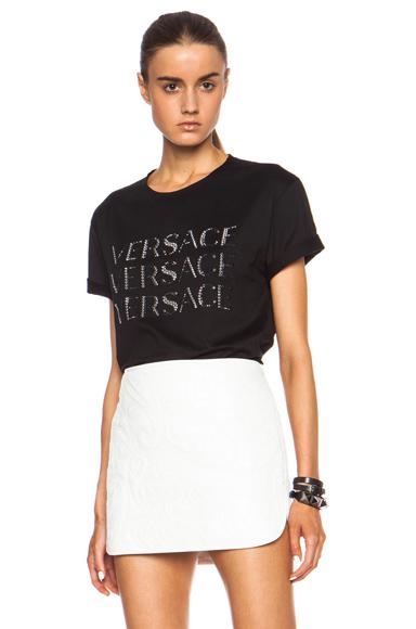 VERSACE | Sequin Triple Logo Cotton Tee in Black
