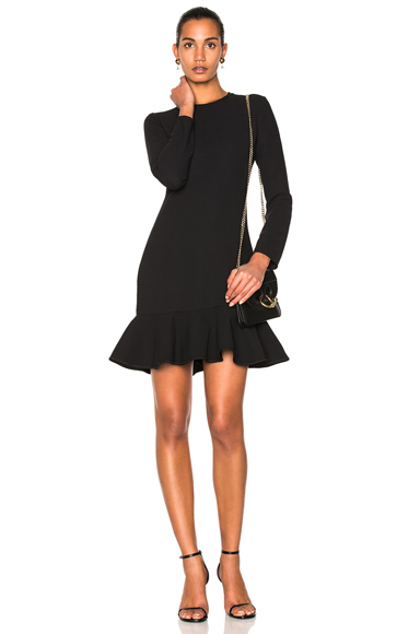 Victoria Victoria Beckham Flounce Hem Dress in Black