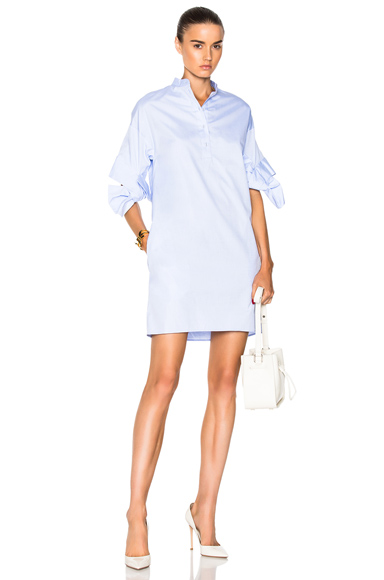 Victoria Victoria Beckham Bow Sleeve Shift Dress in Blue
