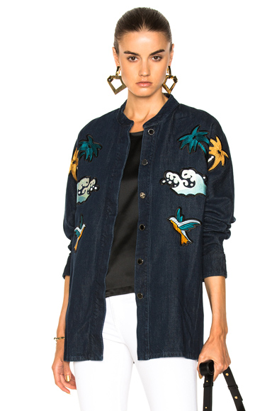 Victoria Victoria Beckham Shacket Jacket in Blue