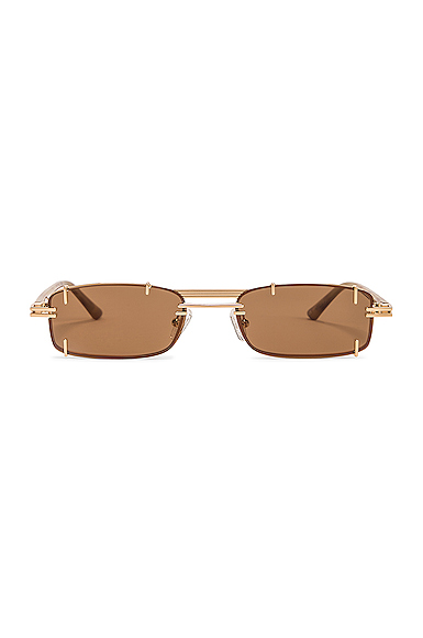 Y/PROJECT | Y/Project Pronged Rectangular Sunglasses In Brown. | Goxip