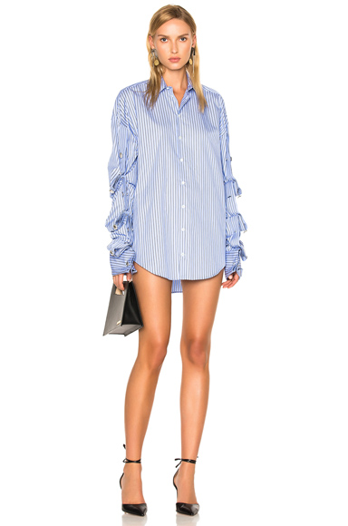 Y Project Button Down Dress in Blue, Stripes