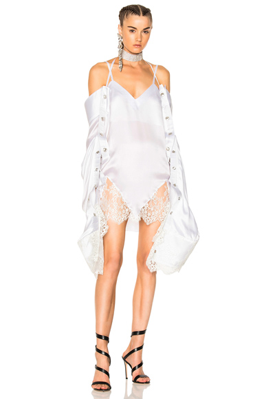 Y Project V Collar Dress in White