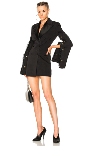 Y Project Fitted Suit Jacket Dress in Black