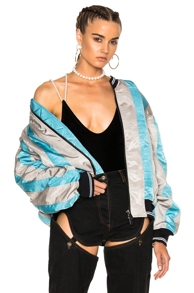 Y Project Striped Bomber Jacket in Blue, Gray, Stripes