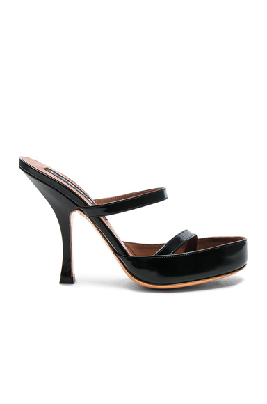 Y Project Leather Stephania Sandals in Black