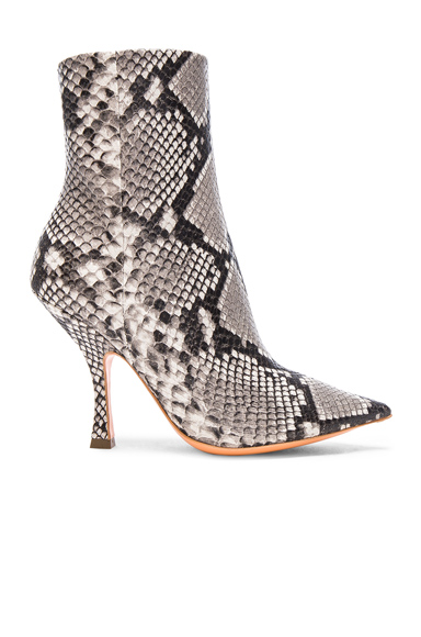 Y Project Snakeskin Embossed Sirte Boots in Gray, Animal Print