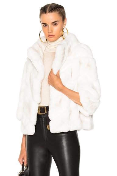 Yves Salomon Rex Quarter Sleeve Jacket in Neutrals, White