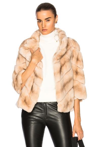 Yves Salomon Rabbit Fur Quarter Sleeve Jacket in Neutrals