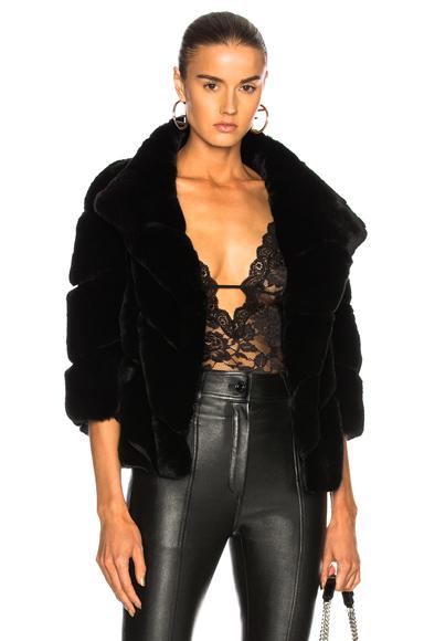 Yves Salomon Rex Quarter Sleeve Jacket in Black