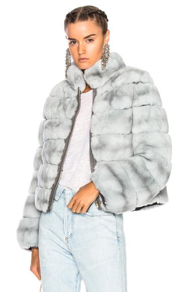 Yves Salomon Rex Fur Jacket in Blue