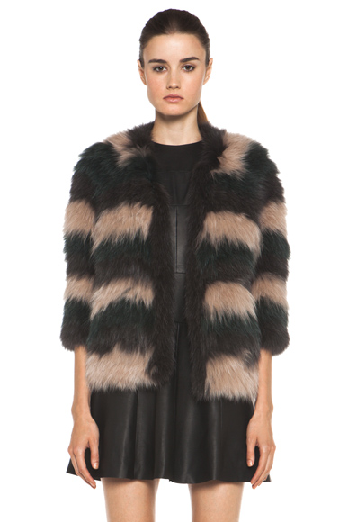 YVES SALOMON | Knitted Fox Jacket in Striped Musk