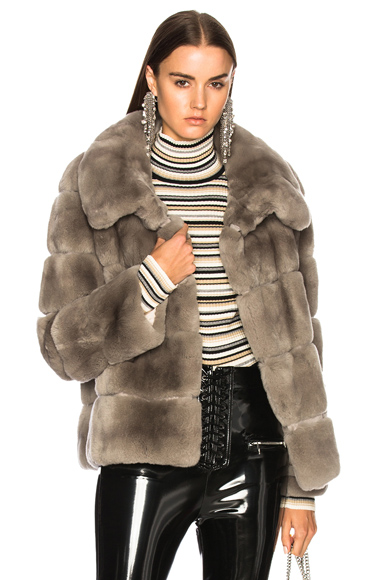 Yves Salomon Rex Fur Jacket in Gray