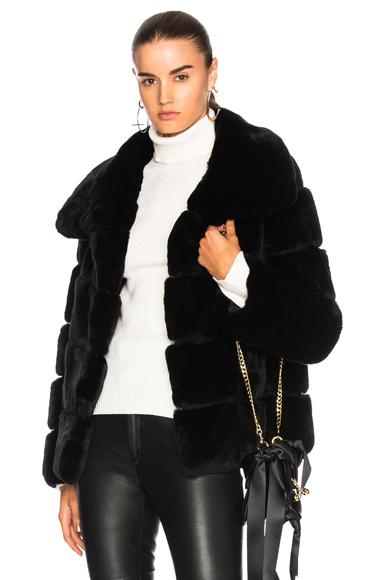 Yves Salomon Rex Fur Jacket in Black