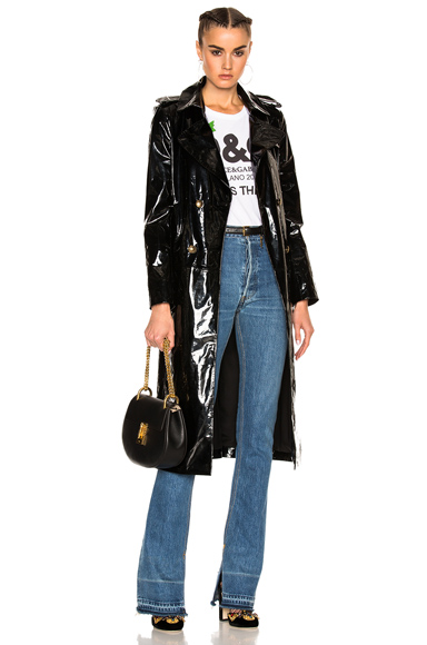 Zeynep Arcay Patent Leather Trenchcoat in Black