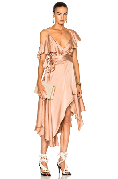 Zimmermann Sueded Asymmetric Wrap Dress in Neutrals, Pink