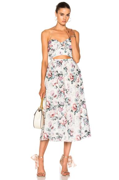 Zimmermann Jasper Tie Dress in Floral, Neutrals, Pink