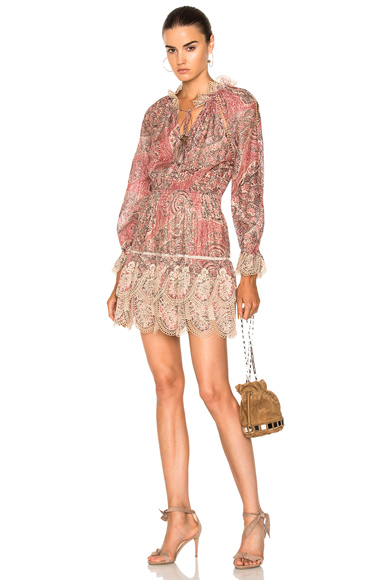 Zimmermann Tulsi Paisley Mini Dress in Floral, Neutrals, Red
