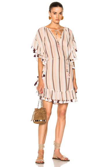 Zimmermann Jasper Stripe Smock Dress in Neutrals, Pink, Stripes