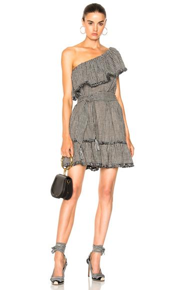 Zimmermann Gingham Frill Dress in Black, Checkered & Plaid, White