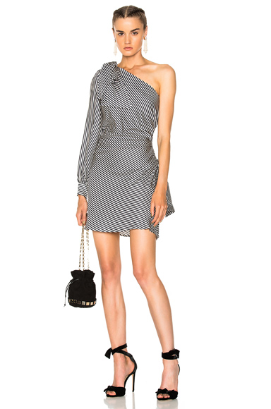 Zimmermann Maples Bow Mini Dress in Black, Stripes