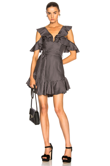 Zimmermann Painted Heart V Dress in Black, Geometric Print