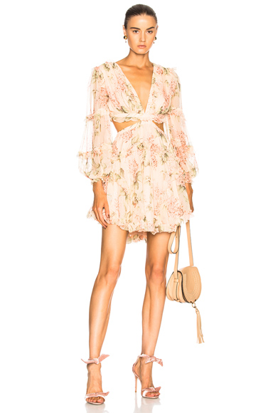Zimmermann Prima Floating Cut Out Dress in Floral, Pink