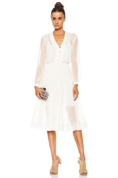 ZIMMERMANN | Lattice Silk V Dress in Pearl