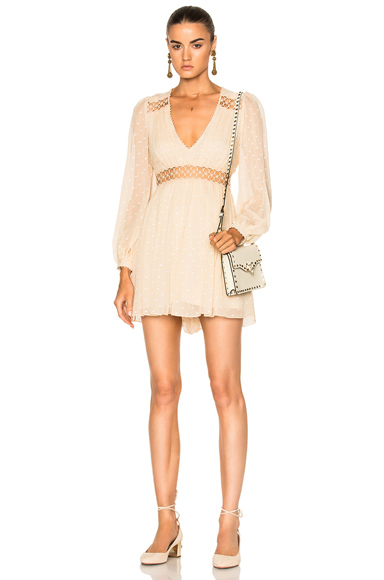 Zimmermann Bowerbird Empire Playsuit in Neutrals