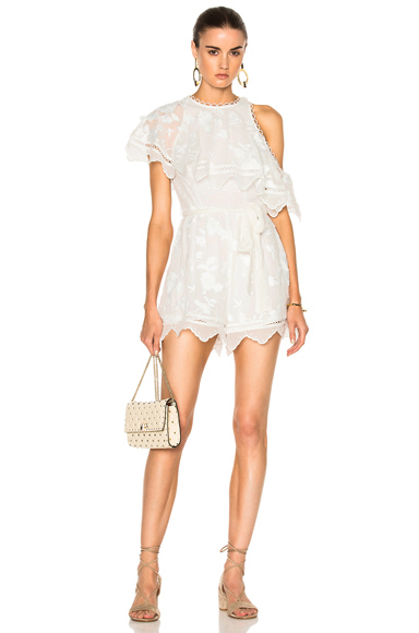 Photo of Zimmermann Mercer Bird Floating Playsuit in White online womens jumpsuits sales