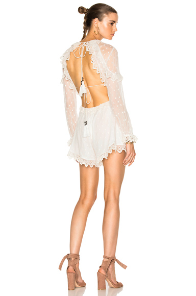 Zimmermann Divinity Scallop Ruffle Playsuit in White