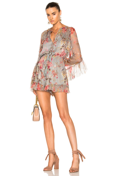Zimmermann Mercer Floating Playsuit in Blue, Floral, Pink