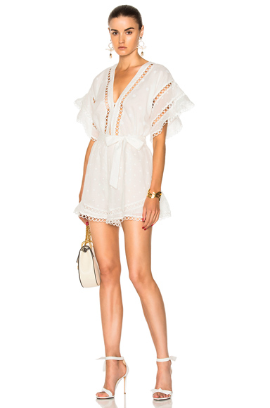 Zimmermann Jasper Dot Floating Playsuit in White