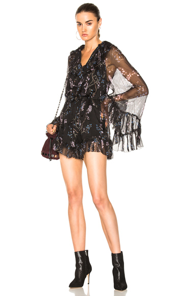 Zimmermann Paradiso Floating Playsuit in Black, Floral