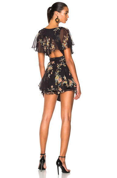 Zimmermann Maples Wrap Playsuit in Black, Floral