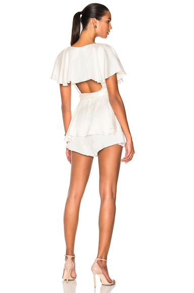 Zimmermann Wrap Playsuit in White