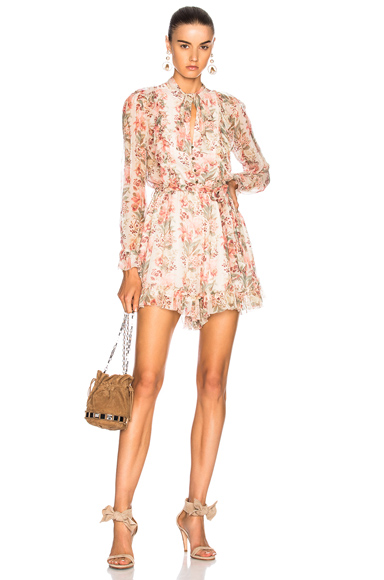 Zimmermann Folly Neck Tie Playsuit in Floral, Neutrals