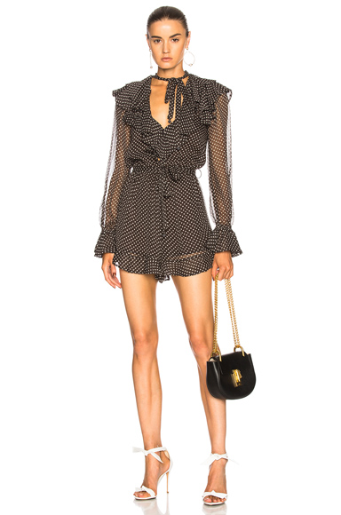 Zimmermann Painted Heart Cascade Playsuit in Black, Geomtric Print