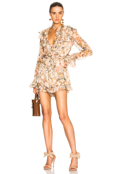 Zimmermann Painted Heart Cascade Playsuit in Neutrals, Floral