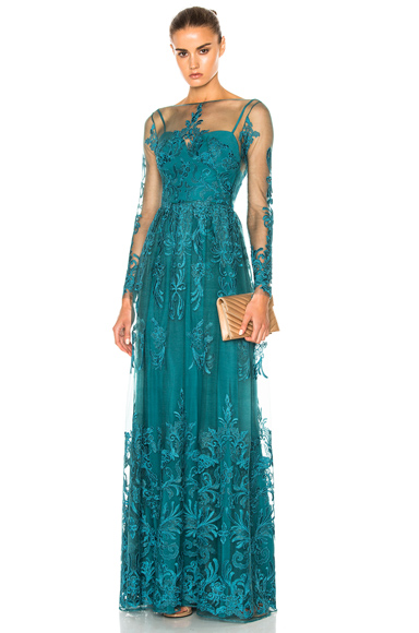 Zuhair Murad Embroidered Tulle Dress in Blue