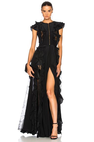 Zuhair Murad Ruffle & Lace Trim Gown in Black