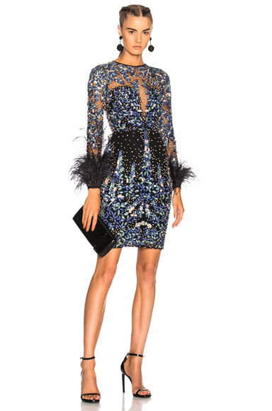 Zuhair Murad Long Sleeve Fully Beaded Feather Detail Mini Dress in Blue, Floral