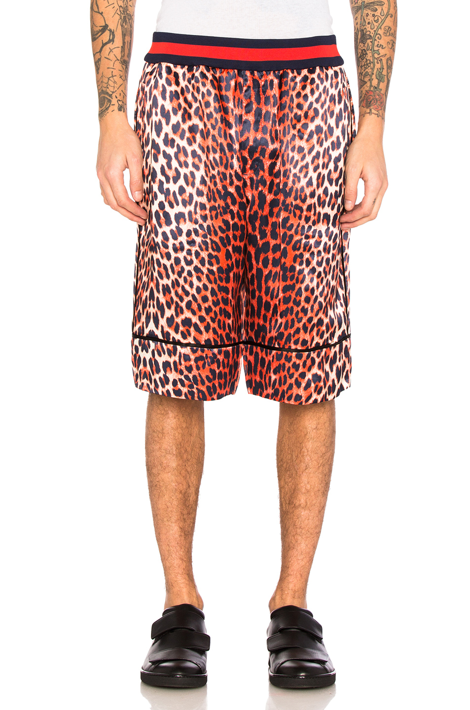 3.1 phillip lim Reversible Leopard Shorts in Animal Print,Orange,Black