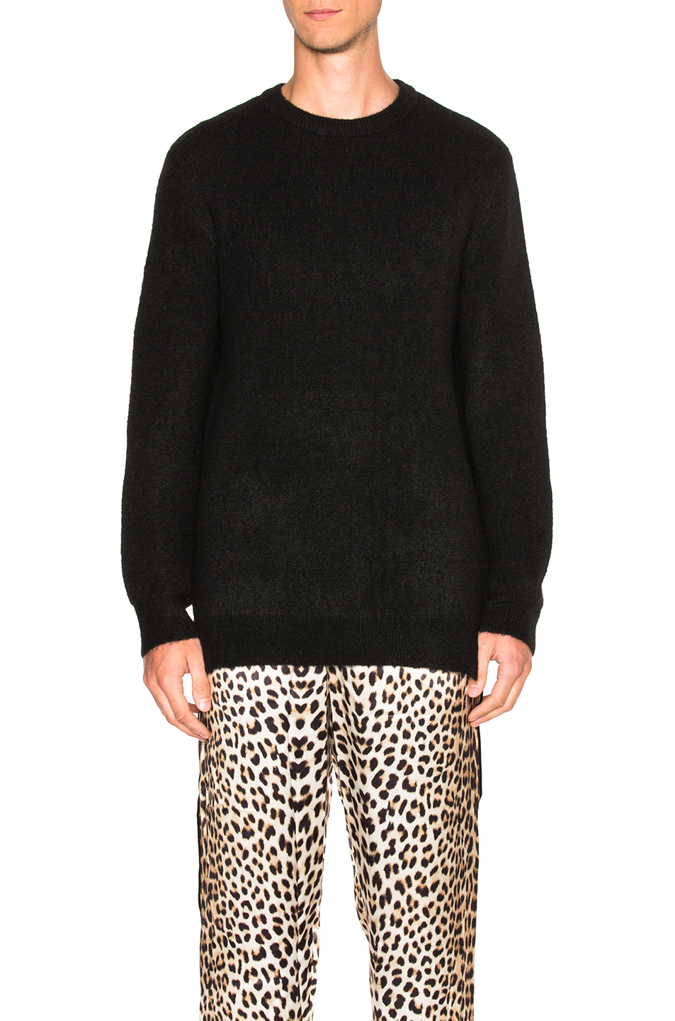 3.1 phillip lim Side Slits Crewneck Pullover in Black