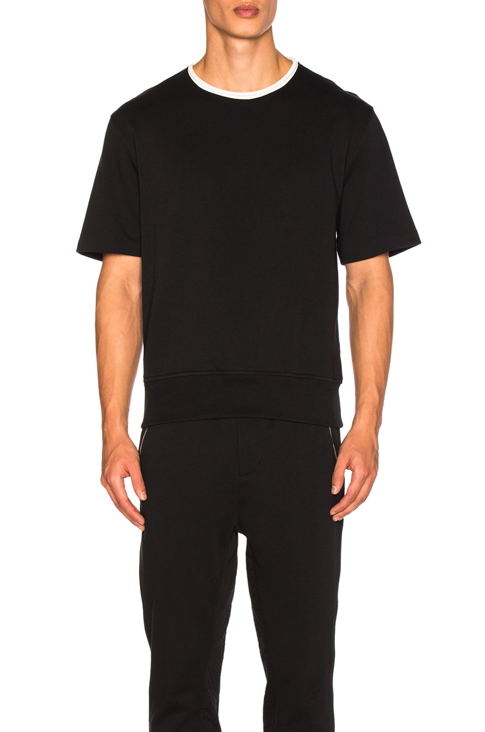 3.1 phillip lim Wide Rib French Terry Short Sleeve Shirt in Black