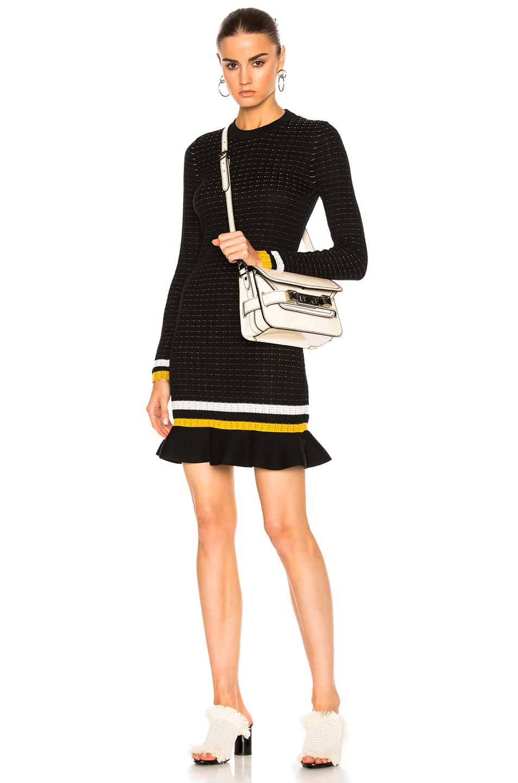 3.1 phillip lim Long Sleeve Dress in Black,Stripe,White,Yellow