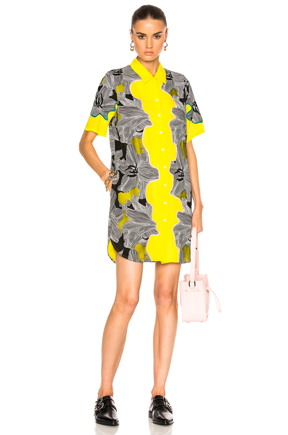 3.1 phillip lim Short Sleeve Surf Floral Dress in Black,Floral,Yellow
