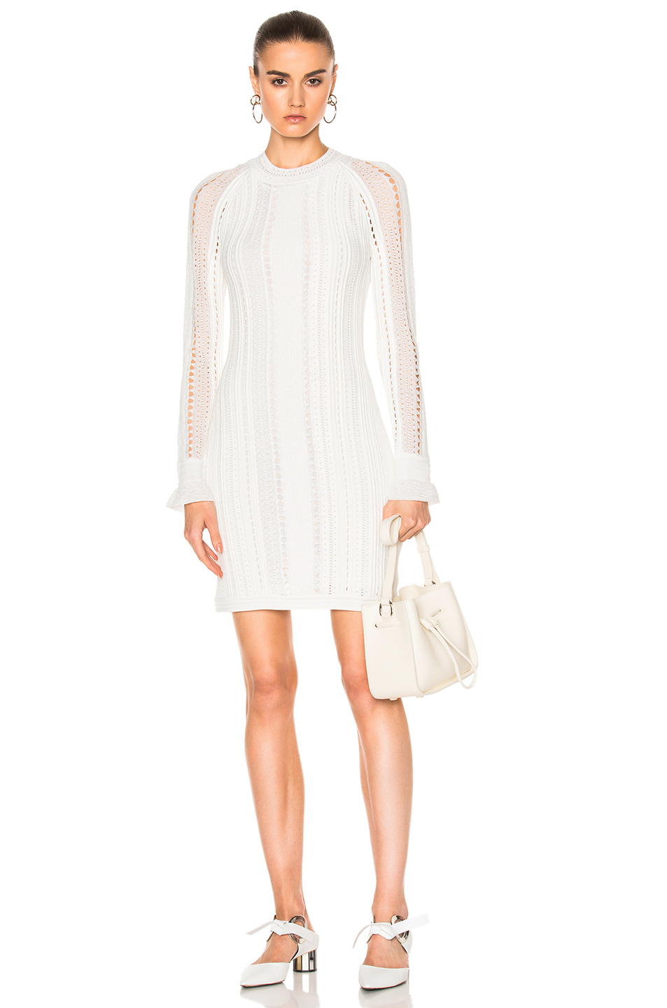 3.1 phillip lim Long Sleeve Pointelle Lace Dress in White